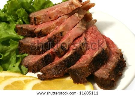 sliced roast meat - stock photo