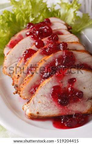 Sliced Roasted Turkey Breast Cranberry Sauce Stock Photo ...