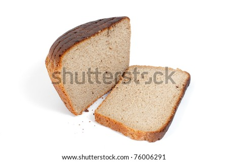 Sliced rye bread isolated on white background.