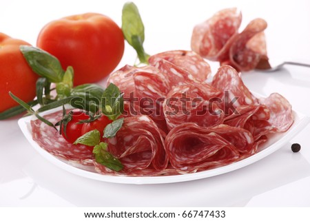 Sliced salami - stock photo