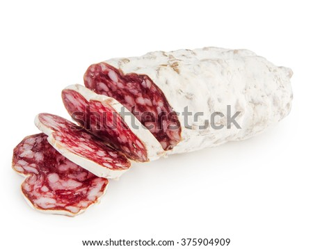 sliced salami on a white background - stock photo