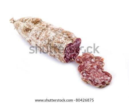 sliced  salami on white - stock photo