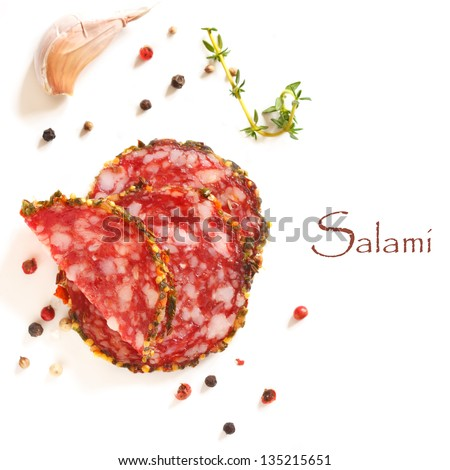 Sliced salami sausage and spices on a white. - stock photo