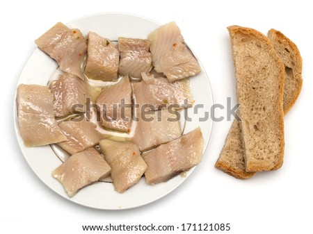 sliced salted herring