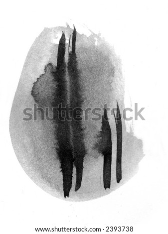 Sliced - scanned from an original ink painting - stock photo