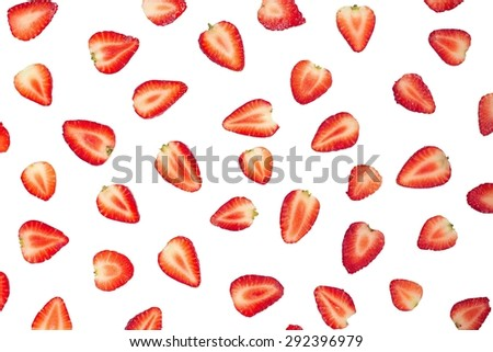 Sliced strawberries food pattern. Clipping path - stock photo