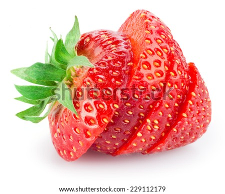 Sliced strawberry isolated on white - stock photo