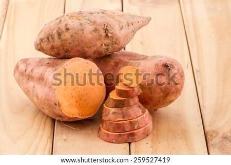 sliced sweet potato  - stock photo