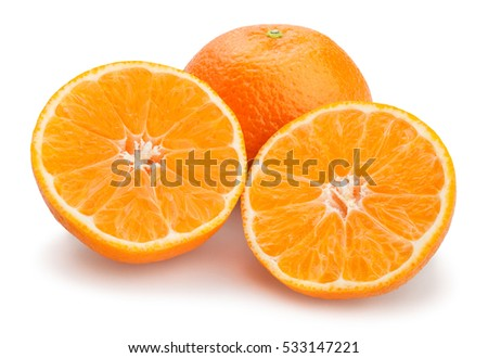 sliced tangerine isolated