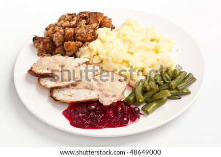 Sliced turkey breast with garnish on a plate - stock photo