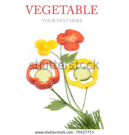 Sliced vegetables and herbs in form of a flower - stock photo