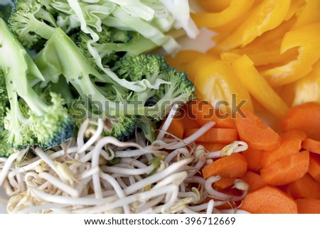 Sliced vegetables placed on the white plate.