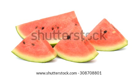 sliced watermelon isolated on white background - stock photo