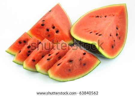 Sliced Watermelon on White background. - stock photo