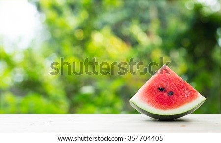 Sliced watermelon with nature background.  - stock photo