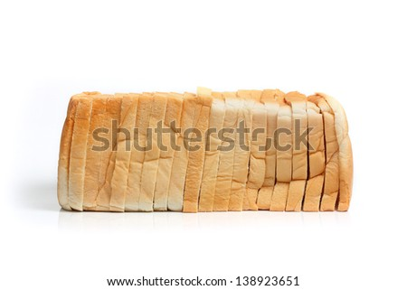 Sliced Wheat Bread on white background.