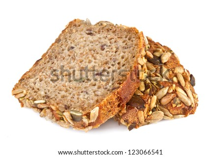 sliced ??whole wheat bread, on white background - stock photo