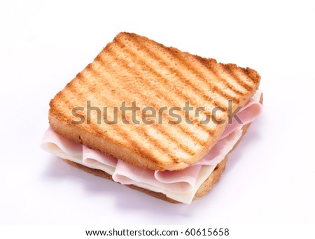 Sliced with ham and cheese - stock photo