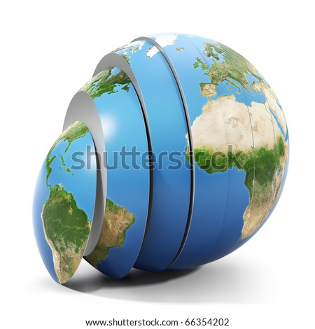 Sliced world - stock photo
