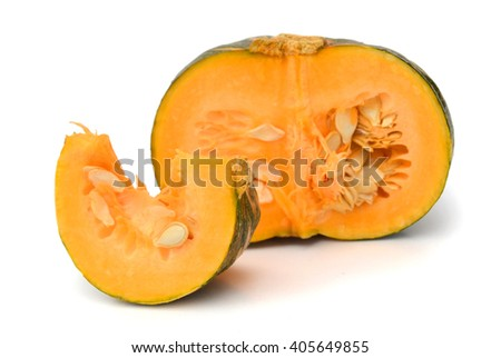 sliced yellow pumpkin on white background - stock photo