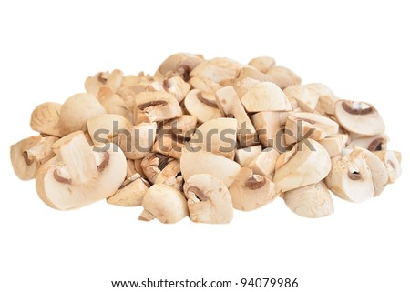 Slices champignon isolated on white background