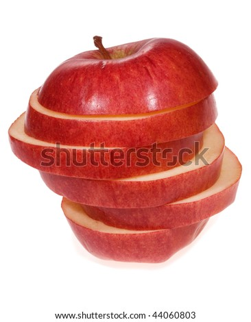 slices of an apple on white background