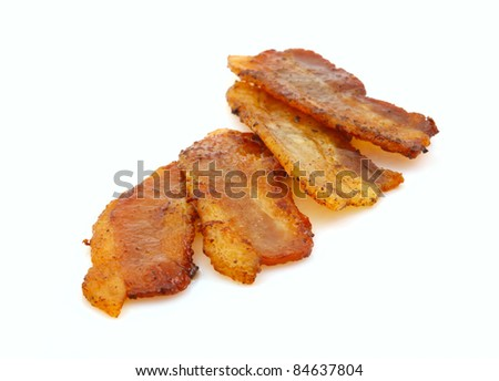 Slices of bacon  isolated on white background. - stock photo