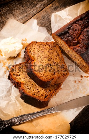 Slices of bananas bread and butter,from above - stock photo