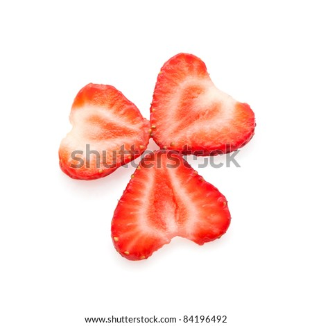 slices of beautifully cut strawberries isolated on white background - stock photo