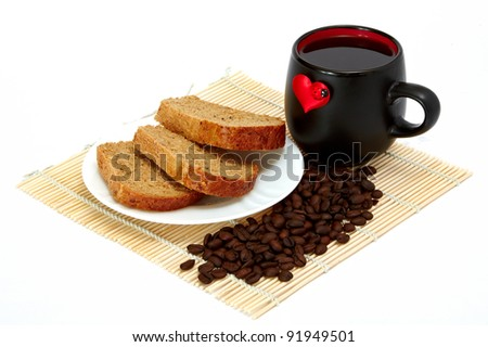 Slices of bread and cup with a heart - stock photo
