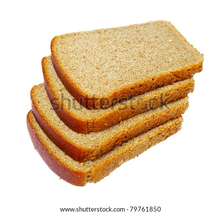 Slices of bread isolated on white - stock photo