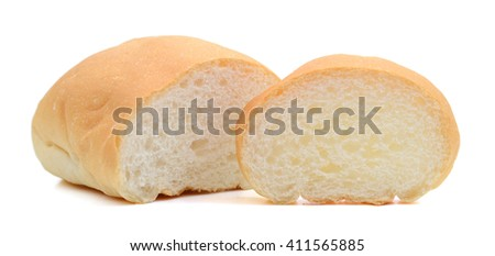 slices of bread on white background  - stock photo