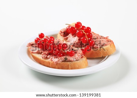 Slices of  bread with salmon pate and currant on a plate