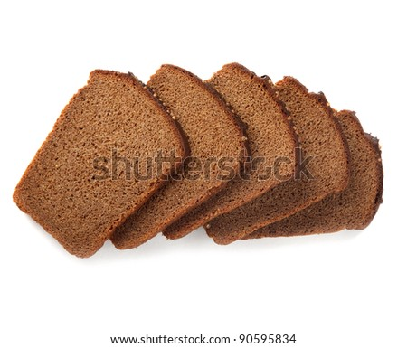 slices of brown bread isolated - stock photo