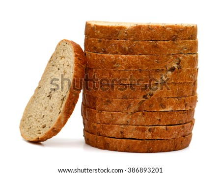 slices of brown bread isolated on white