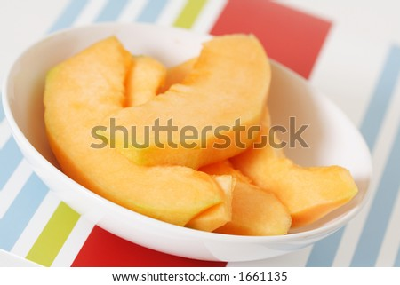 Slices of cantaloupe on a plate