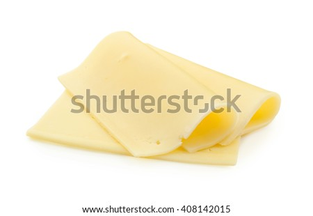 slices of cheese isolated on white background with clipping path