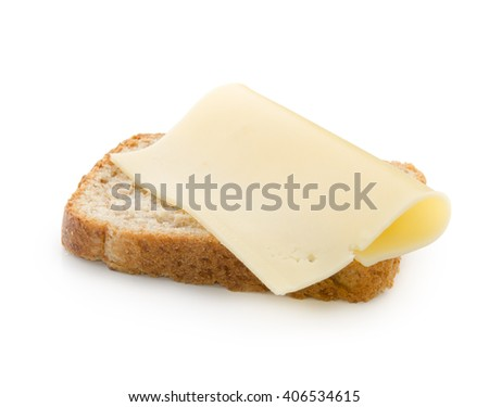 slices of cheese on bread toast isolated on white background with clipping path. - stock photo