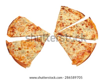 Slices of cheese pizza close-up isolated on white background - stock photo