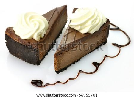 slices of cheesecake - stock photo