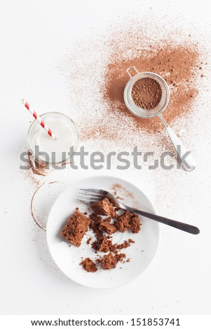 Slices of chocolate brownie sprinkled with cocoa powder served on white plate.Served with cocoa powder and sifter,with glass of milk with red white stripe straw.Taken on white background, from above.  - stock photo