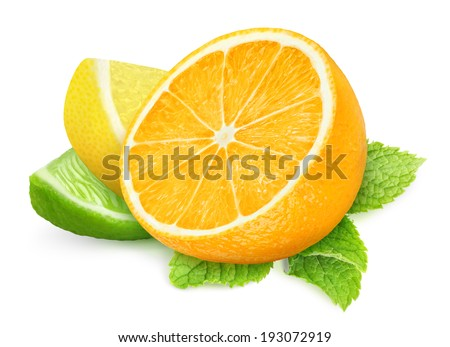 Slices of citrus fruits and mint leaf over white background - stock photo
