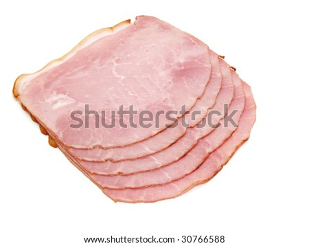slices of delicious ham isolated on white background - stock photo