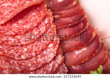 Slices of different types of sausages and salad leaf. - stock photo