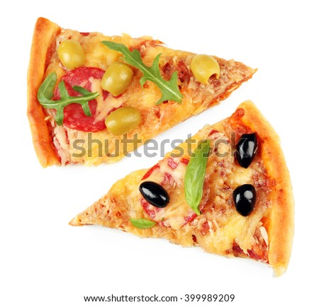 Slices of fresh baked pizza isolated on white - stock photo