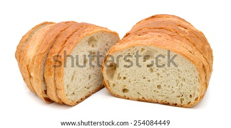 slices of fresh bread isolated on white - stock photo
