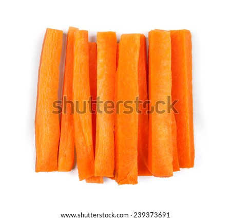 slices of fresh carrots on a white background - stock photo