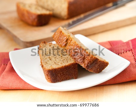 Slices of Freshly Baked Organic Banana Bread without Nuts - stock photo