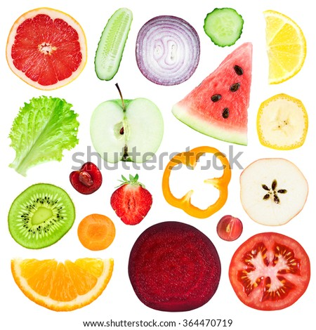 Slices of fruit and vegetable isolated on white background