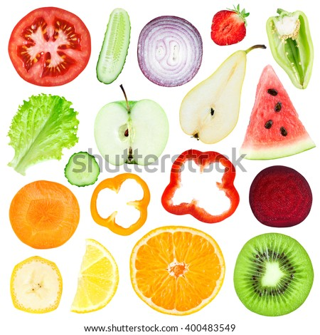 Slices of fruit and vegetable isolated on white background - stock photo